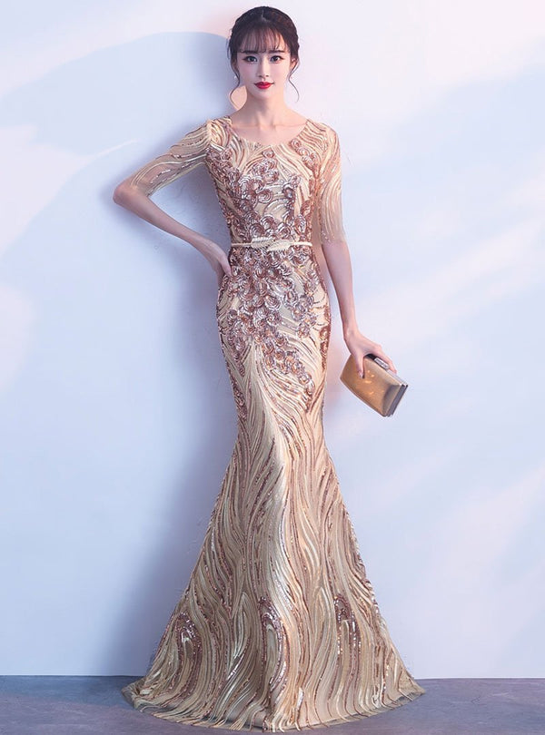 Golden Glitter Fish Tail Evening Dress