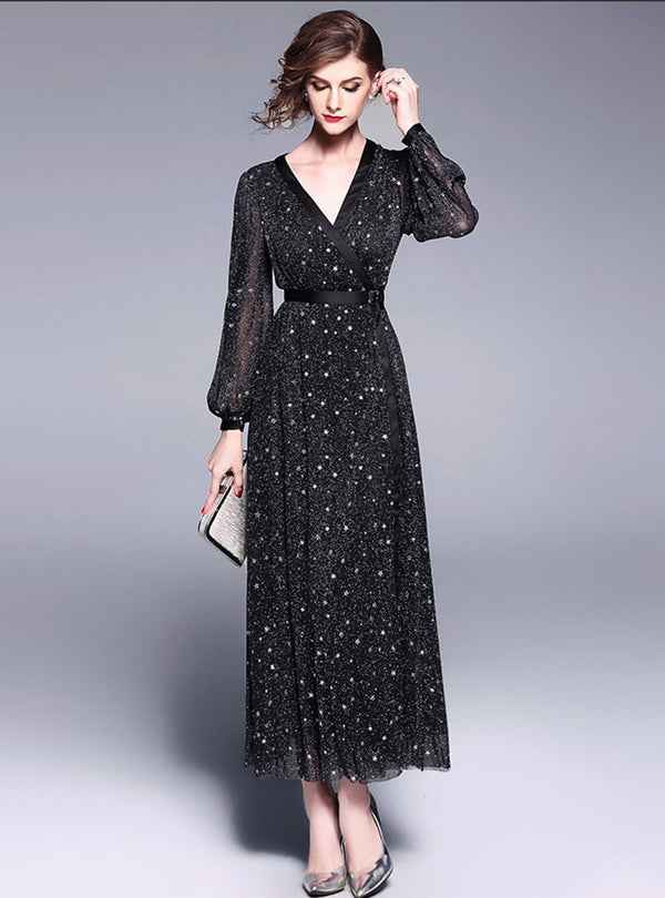 Black Printed Lantern Sleeve Maxi Dress