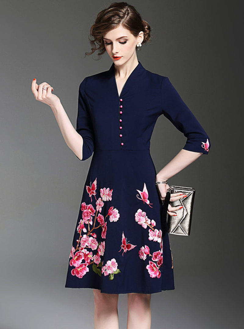 Dark Blue Floral Embroidered Midi Dress