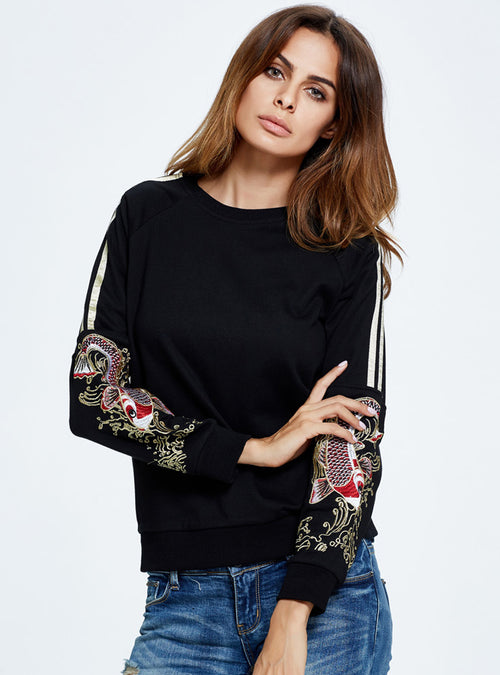 Floral Embroidered O-neck Sweater