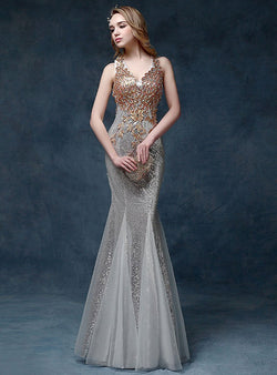 Deep V-Neck Embroidered Fish Tail Evening Dress