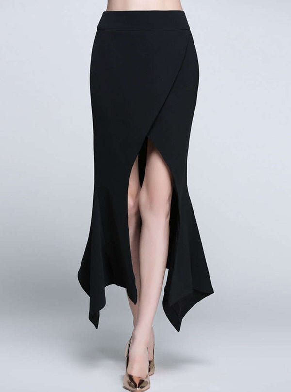Black High-Low Split Asymmetric Bodycon Skirt