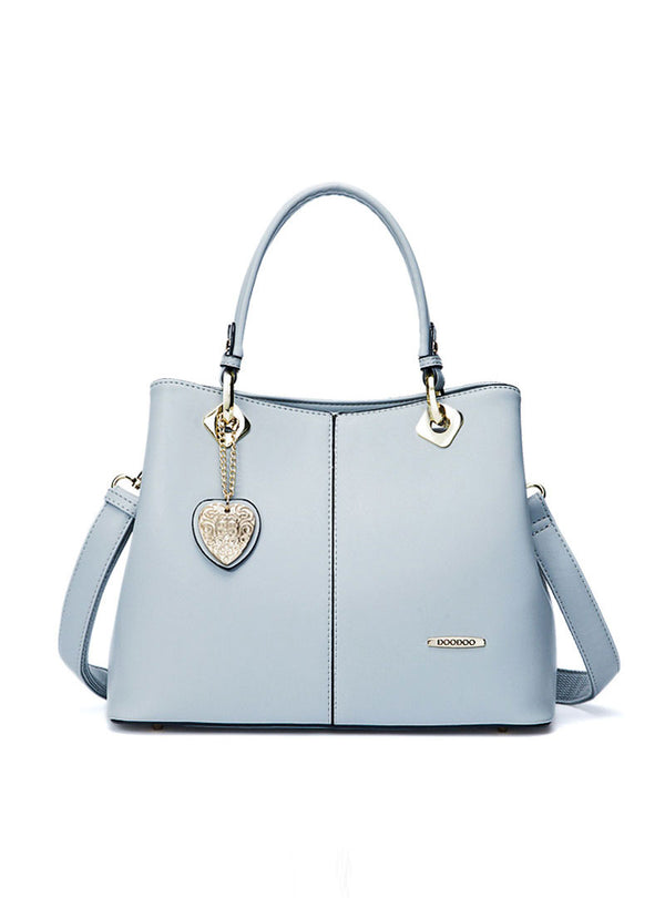 Light Blue Heart Detail Tote Bag