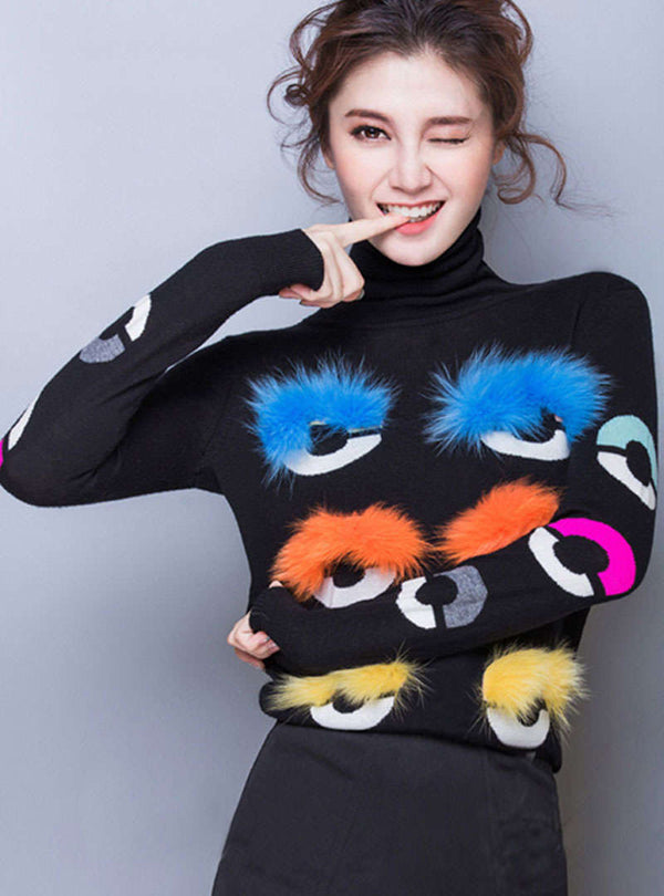 Matching Color High Neck Sweater