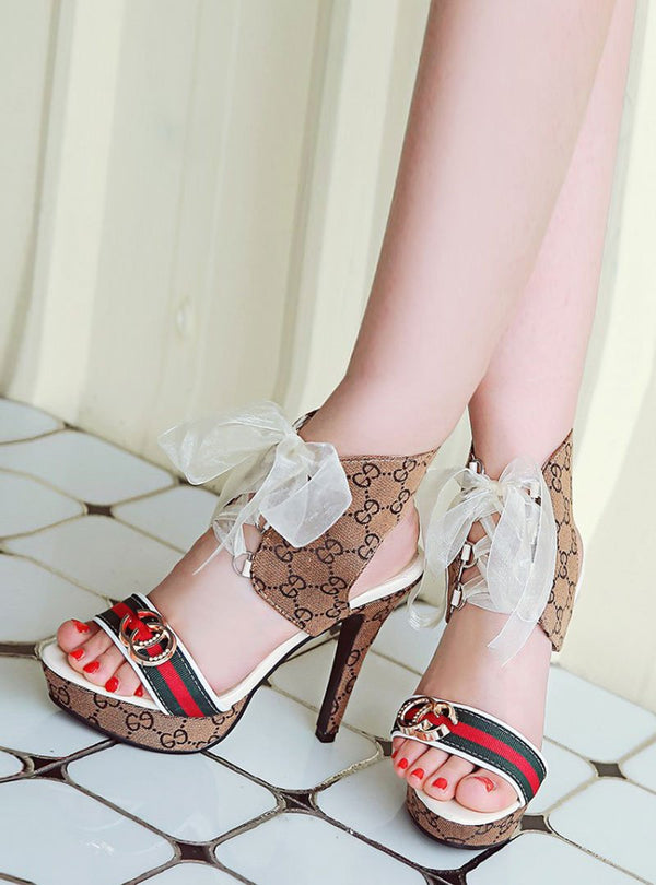 Open Toe Printed Stylish Hollow Out Lace Up Sandals