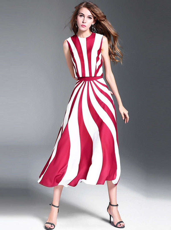 Sleeveless Striped Two Piece Suit