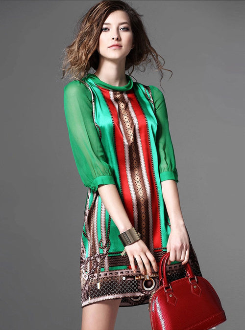 Green Multi Printed Silk Mini Dress