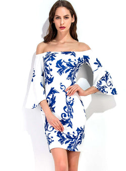 Blue And White Porcelain Flare Sleeve Bodycon Dress