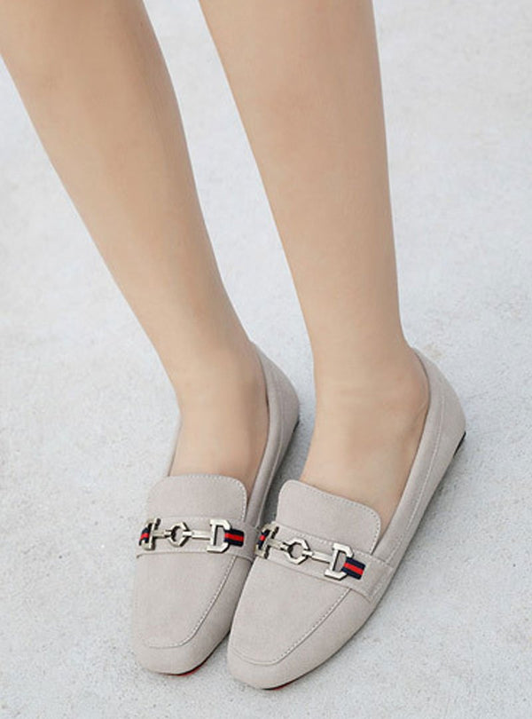 Suede Square Toe Slip On Flats