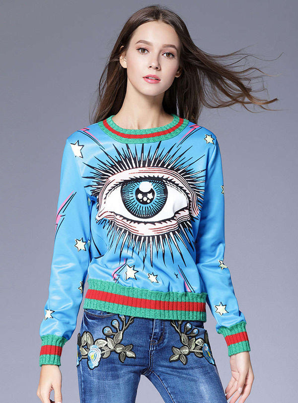 Blue Eye Printed Fashion Sweatshirt