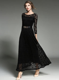 Black Lace Hollow Out Belted Maxi Dress