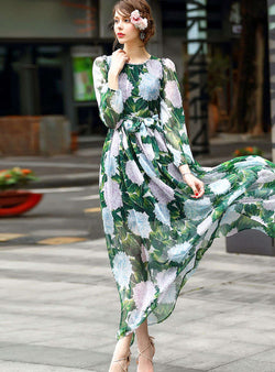 Green Floral Printed Tie Waist Swing Maxi Dress