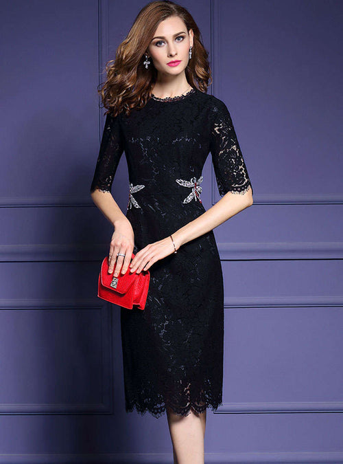 Solid Color Cinched Waist Lace Midi Dress