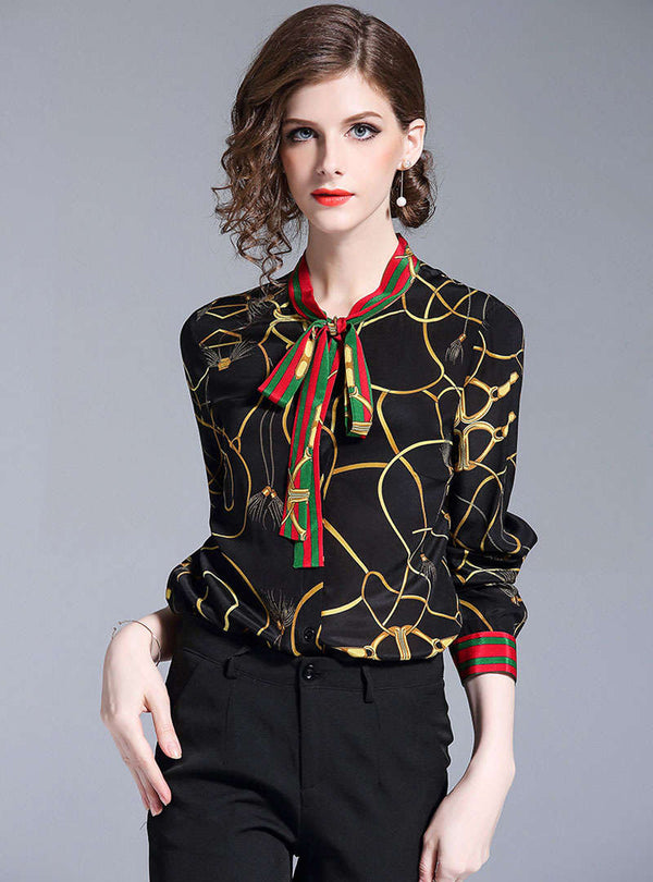 Black Printed Tie Neck Chiffon Blouse