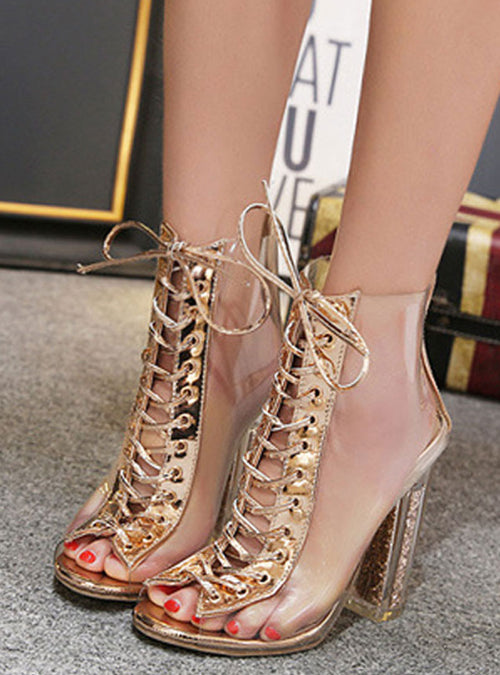 Gold Lace-up Rubber High Heel Sandals