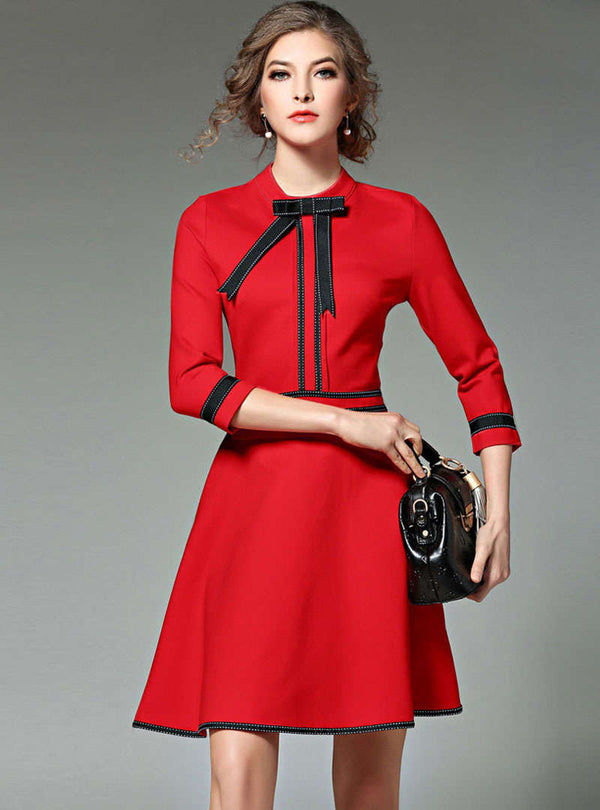 Solid Color Bowknot Stand Collar Mini Dress