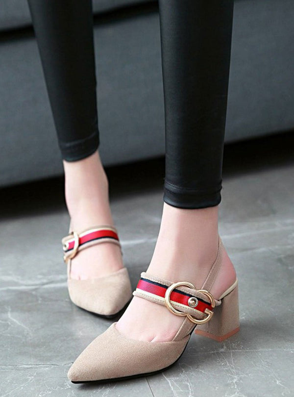 Pointed Toe Ankle Strap Chunky Heels Sandals