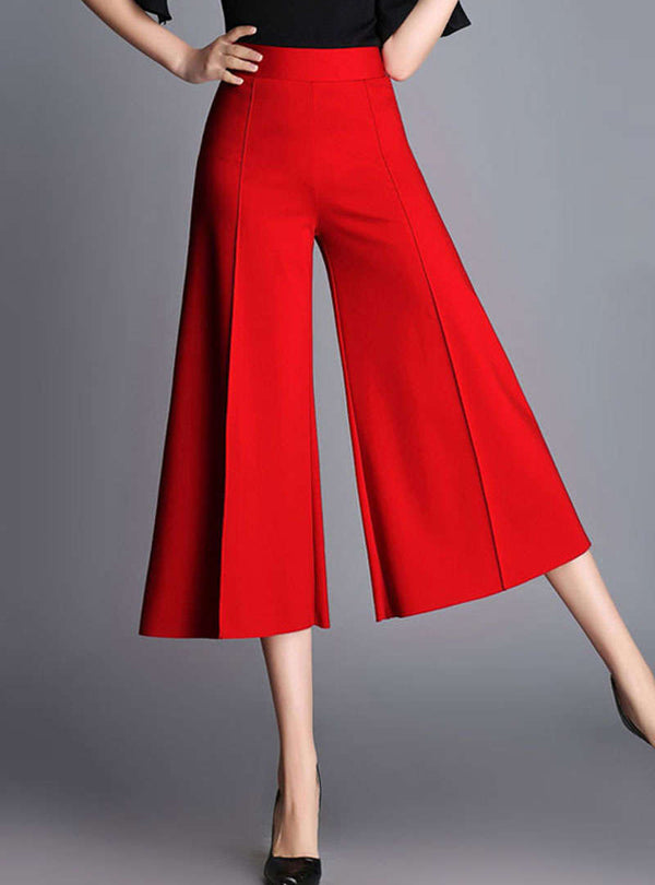 Red High Waist Wide Leg Pants