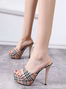 Platforms Plaid Printed Open Toe High Stiletto Heels Slippers