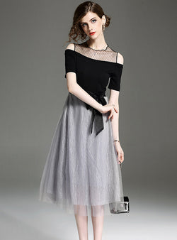Grey Off Shoulder Bow Tie Midi Dress