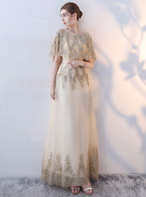 Golden Embroidered Mesh Evening Dress