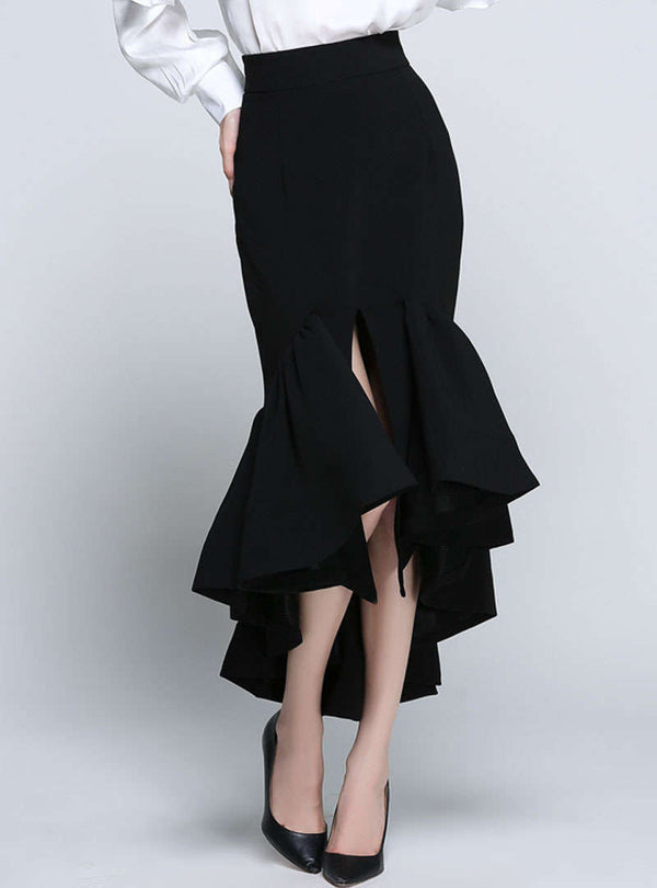 Solid Color Split High-Low Hem Falbala Skirt
