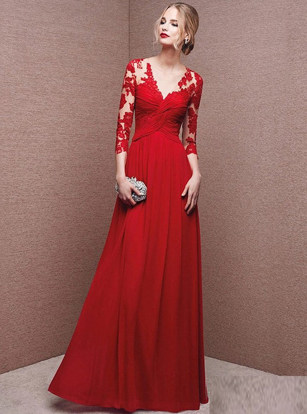 Red Lace Floral Embroidered Evening Dress