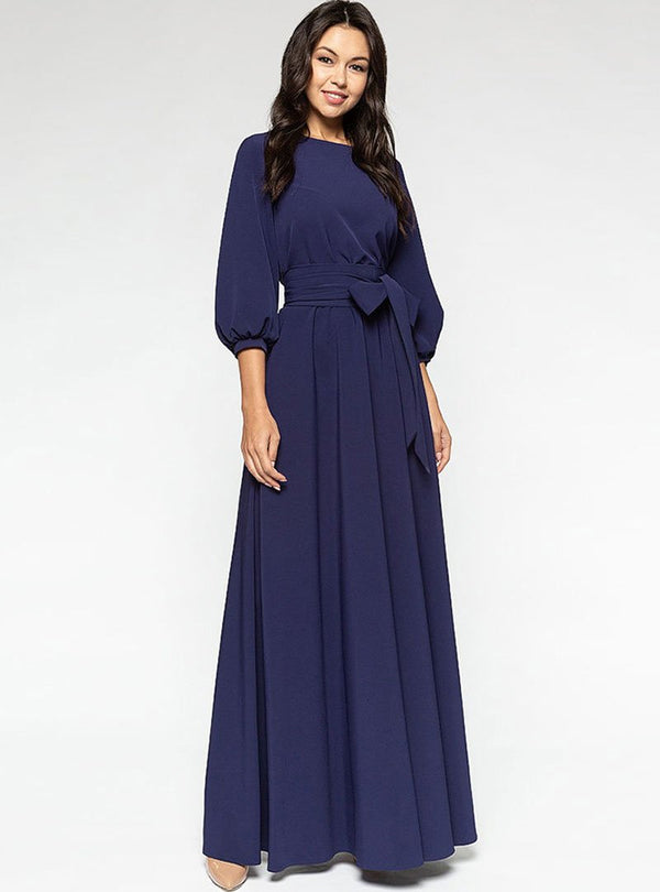 Navy Blue Plain Party Lantern Sleeve Party Maxi Dress