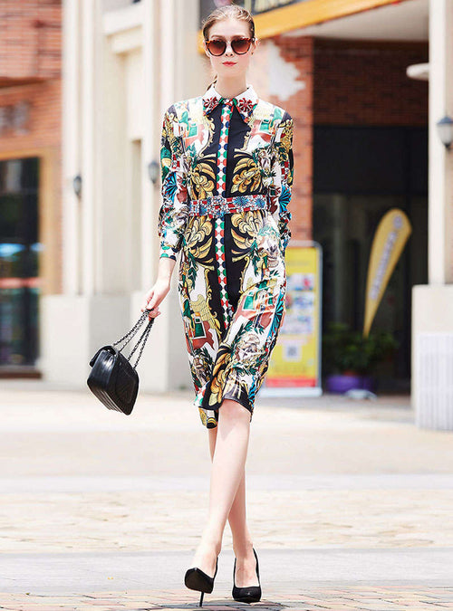 Floral Printed Beading Cinched Waist Trench Coat