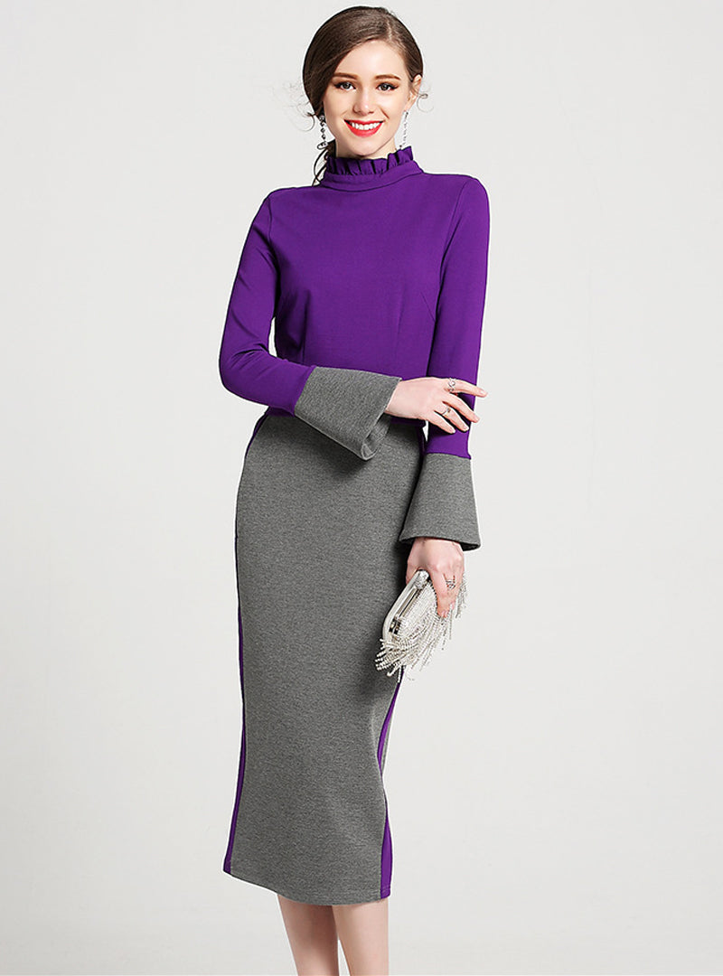 Purple Flare Sleeve Belted Bodycon Dress