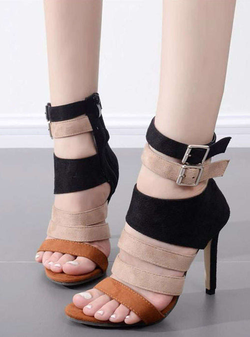 Matching Color Double Buckle High Heel Sandals