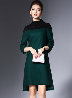 Green High Neck Wool Shift Dress