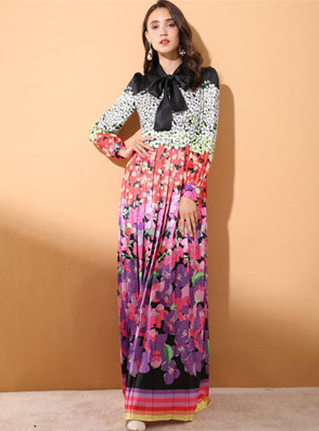 Orange Floral Printed Long Sleeve Maxi Dress