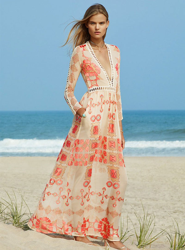 Red Sheath Plunging Neck Floral-print Beach Party Maxi Dress