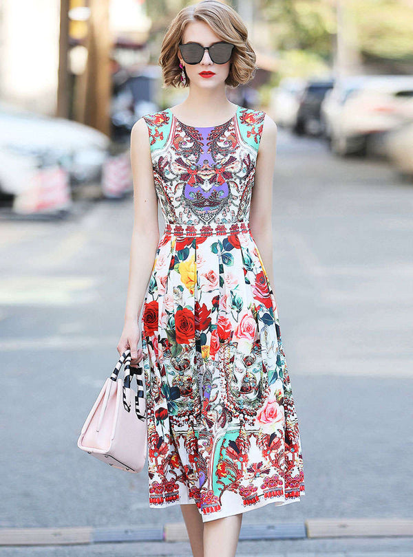 Retro Floral Printed Cinched Waist Midi Dress