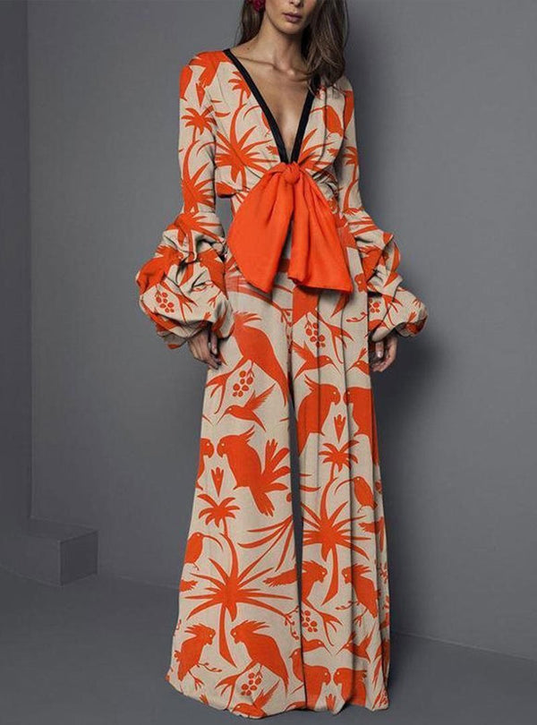 Sexy Deep V-Neck Pattern Elastic Waist Jumpsuits