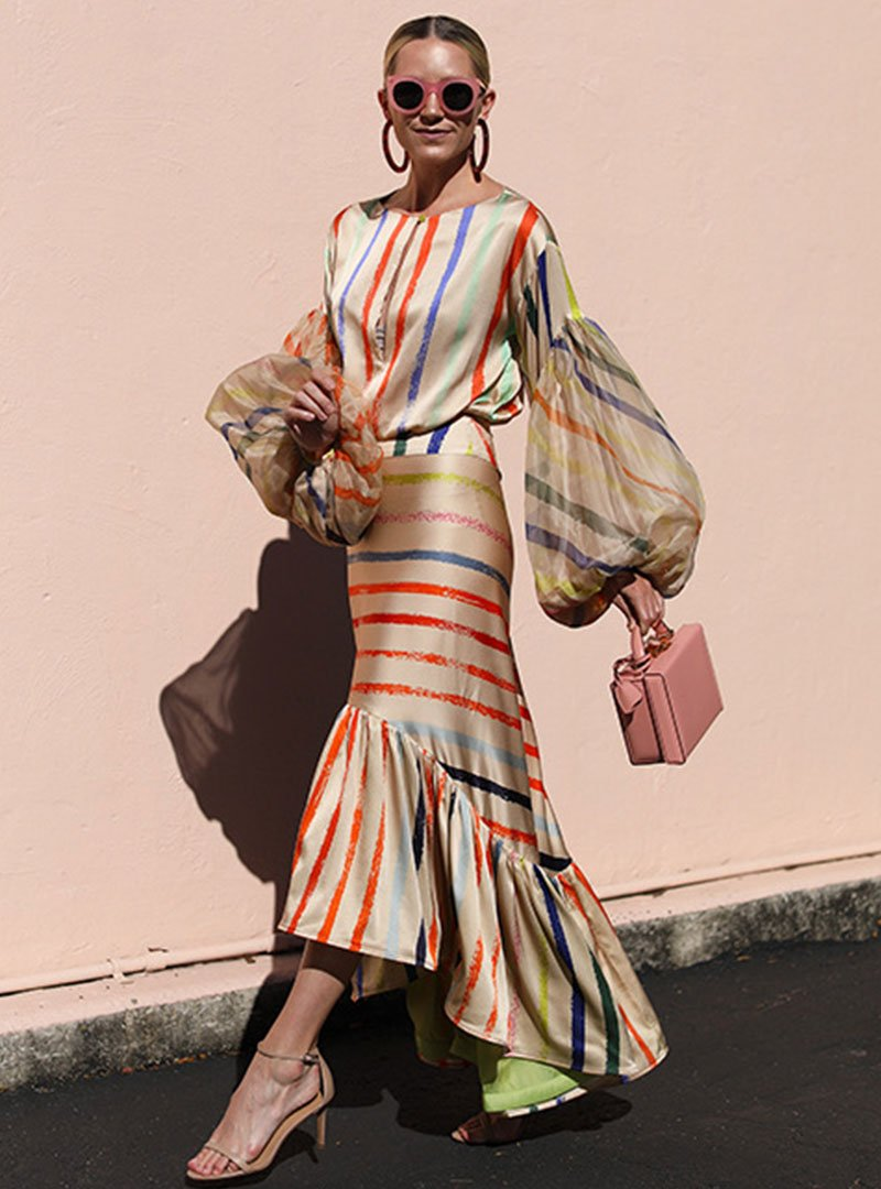 Crew Neck Balloon Sleeve Striped Flounce Holiday Maxi Dress