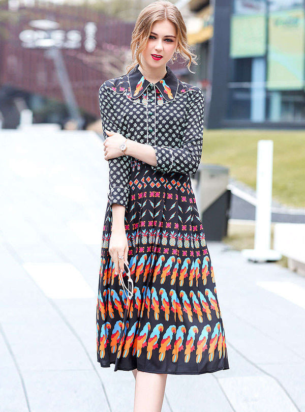Black Floral Printed Swing Shirt Dress