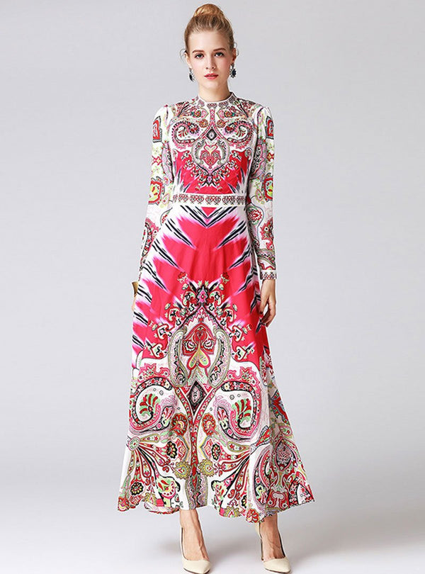 Rose Red Scenery Printed Ethnic Swing Maxi Dress