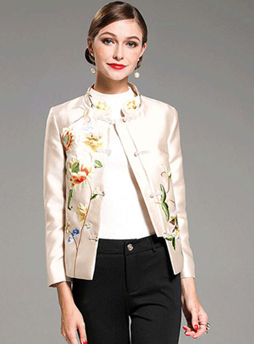 Khaki Floral Embroidered Stand Collar Jacket