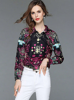 Black Retro Floral Printed Blouse