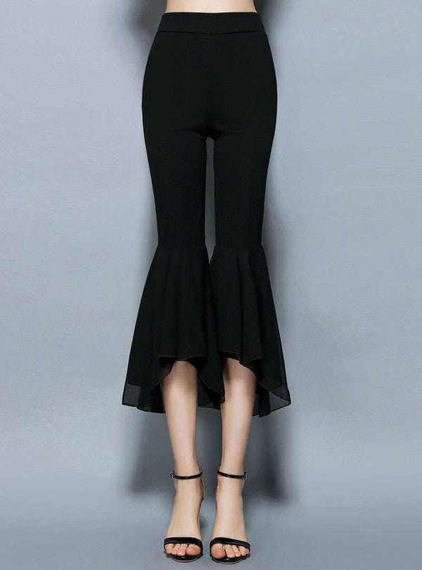 Black High-Waist Flared Hem Chiffon Pants