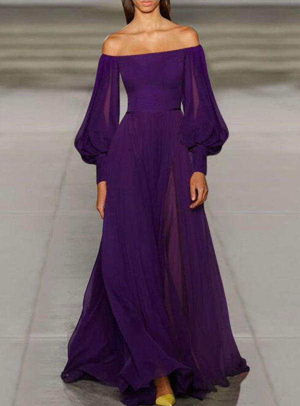 Purple Chiffon Off The Shoulder Party Maxi Dress