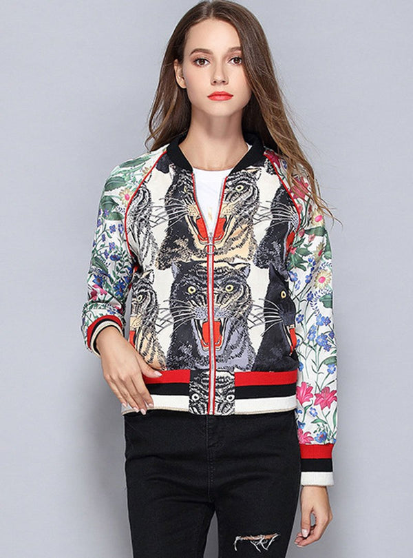 Match Color Embroidered Spliced Jacket