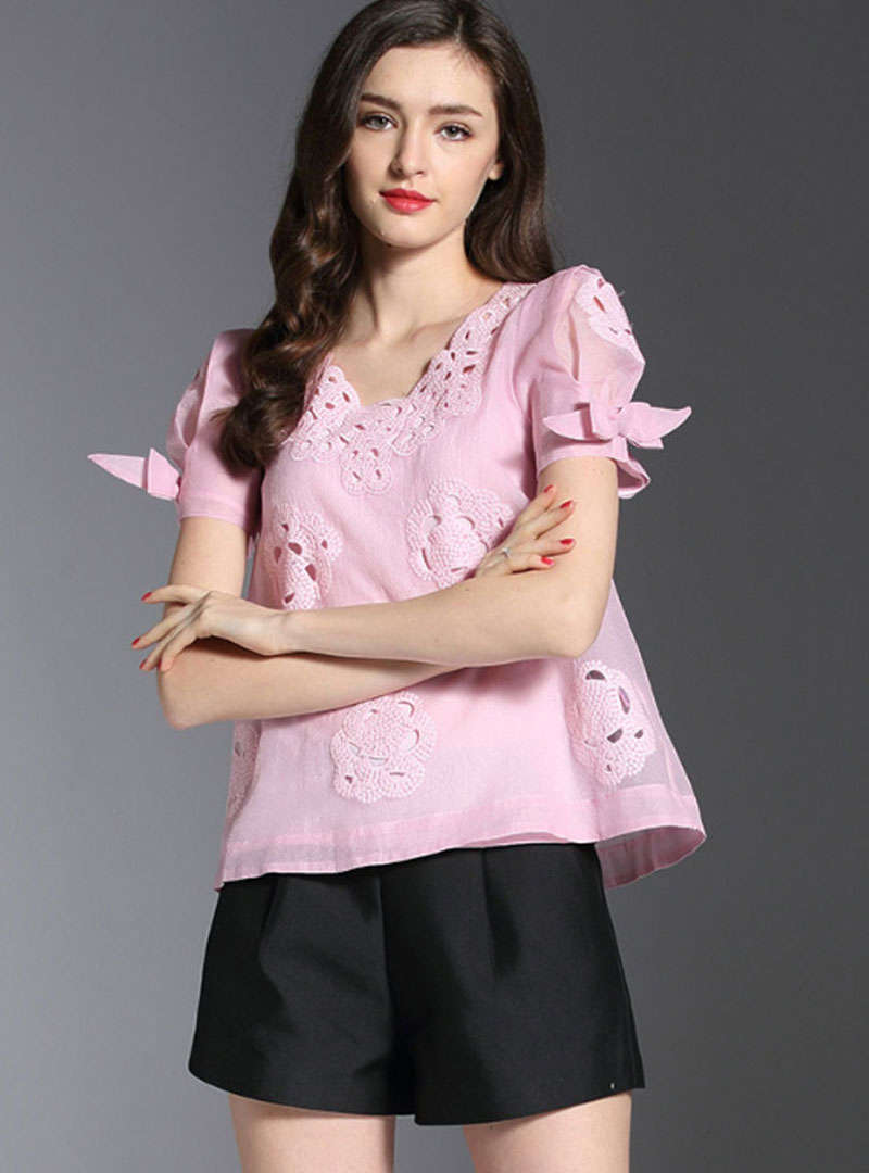 V-Neck Embroidered Silk Blouse