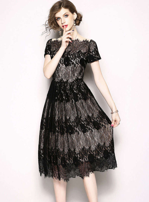Black Lace Spliced Mesh Lace Midi Dress