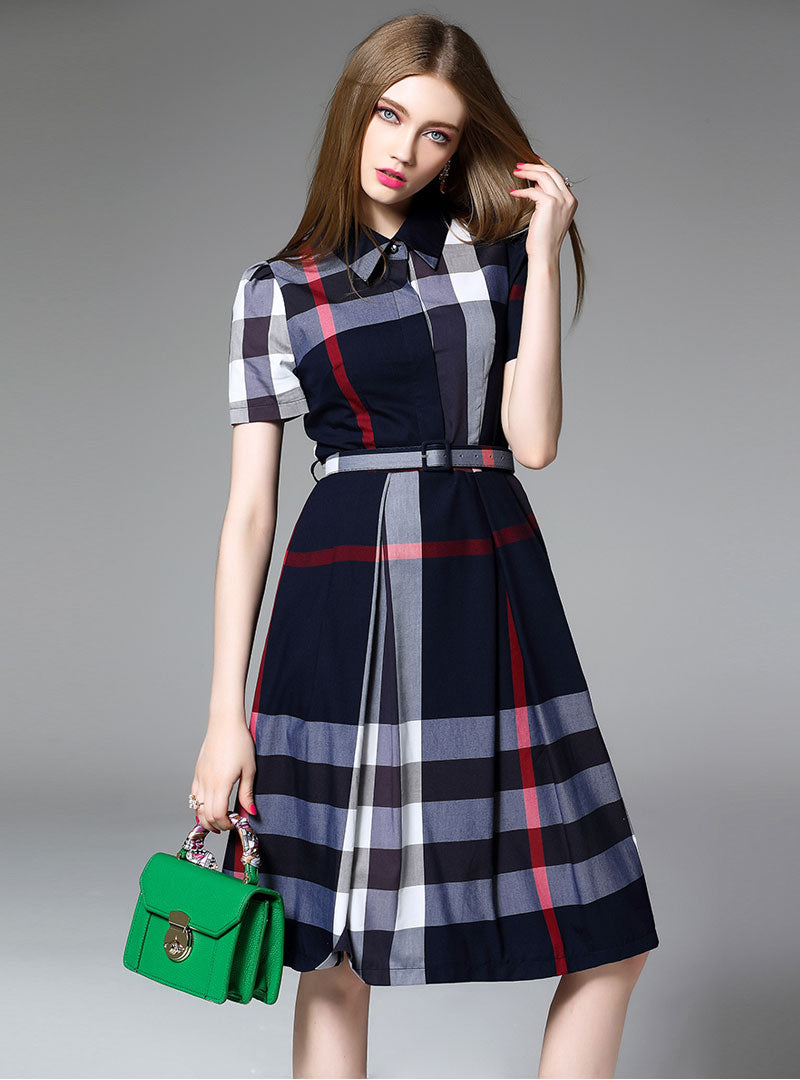 Blue Grid Printed Belted Shirt Midi Dress