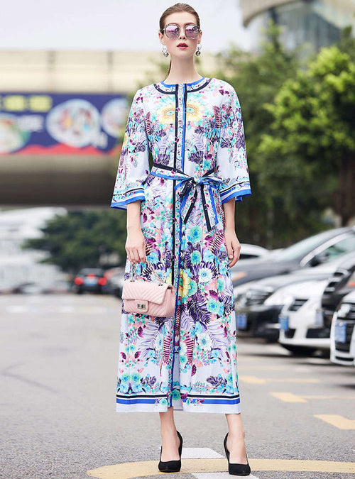 Floral Printed Flare Sleeve Belted Maxi Dress
