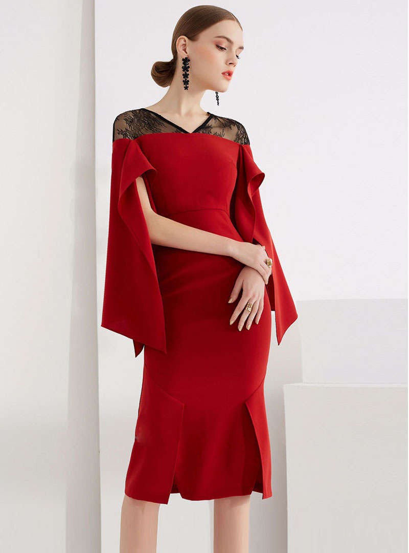 Red Split Ruffled Sleeve Lace Spliced Midi Dress