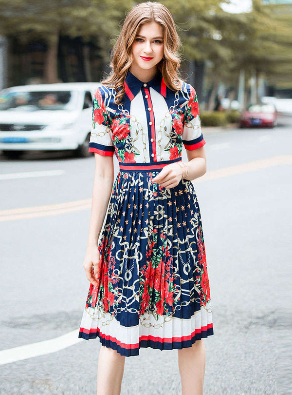 Navy Blue Floral Printed Pleated Midi Dress